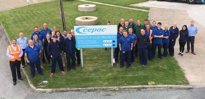 Cepac Rawcliffe marks 1,000 days accident free